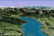 GPS flight track from passing the lake Thun in freefall