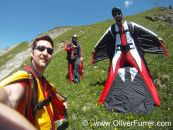 BASE jumpers on the exit point ready to jump