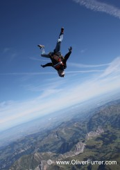 special event bergspitz skydive in the blue sky